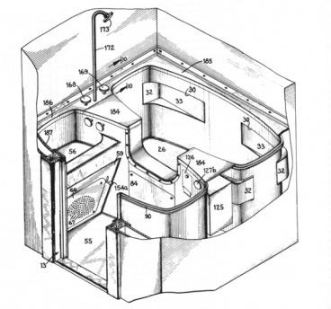 Bản vẽ đăng ký bản quyền cho phòng vệ sinh không cần nước của Dymaxion