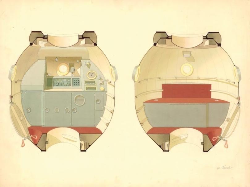 Bản vẽ minh họa cho không gian sinh hoạt của Soyuz-M