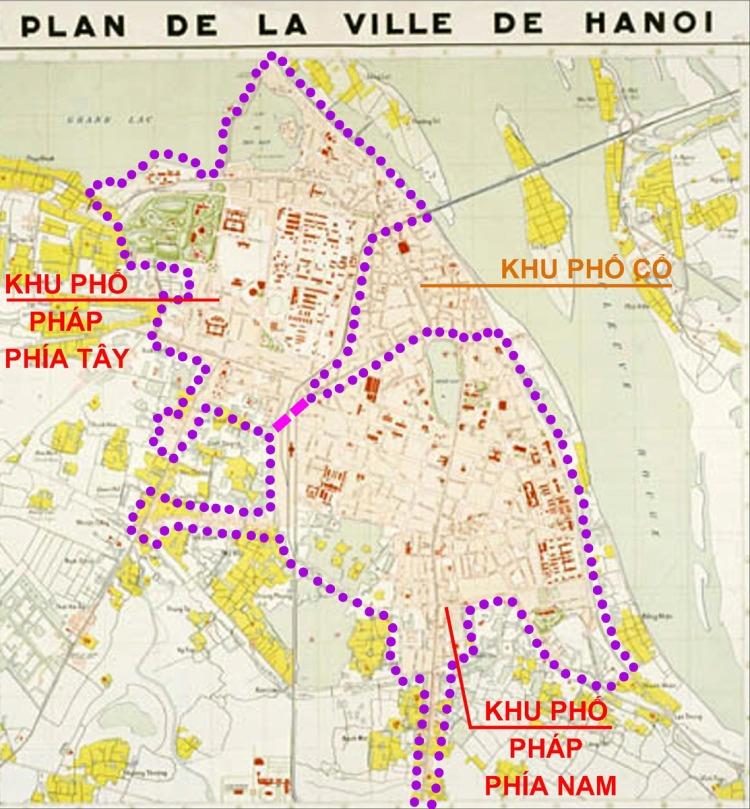 Hình 1 : Ranh giới khu phố Pháp ở Hà nội thời điểm năm 1943 (nguồn Ashui)