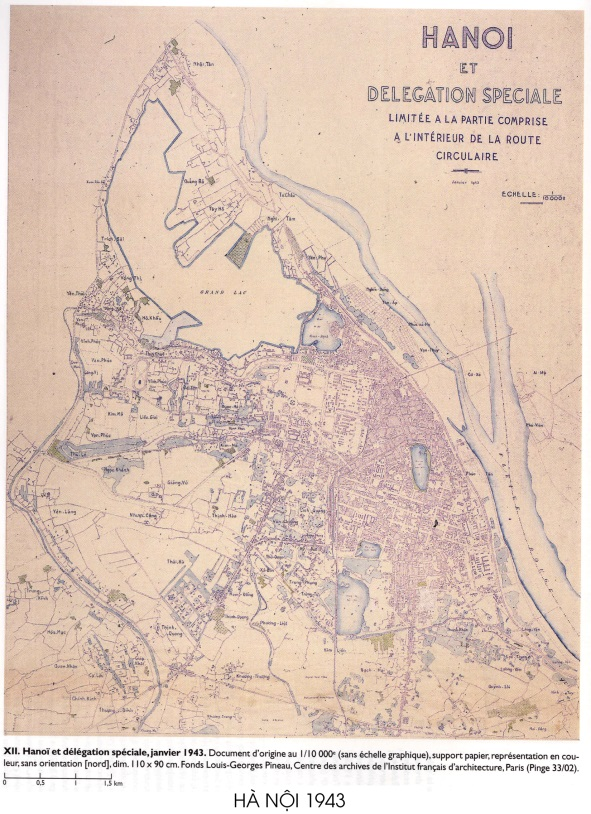 Hình 3. Bản đồ thành phố Hà Nội năm 1943 [9]
