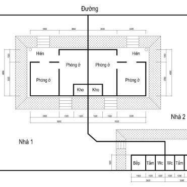 Hình 6. Mặt bằng nhà Ánh sáng tại Phúc Xá. Vẽ lại theo bản vẽ tay của KTS Hoàng Như Tiếp [21]