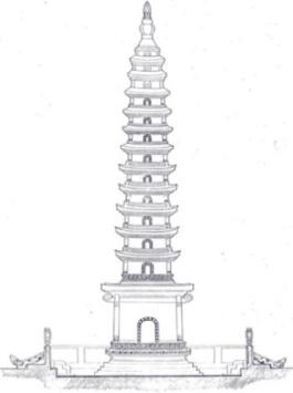 Hình 7. Mặt đứng tháp Phổ Minh